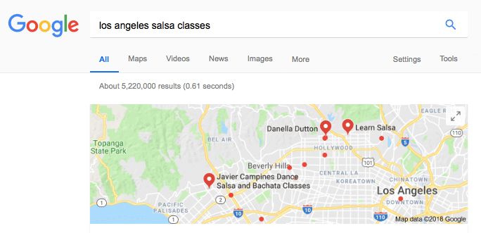"""google search for the phrase """"los angeles salsa classes"""" with many results showing on the map. classes are opportunities to build a friend circle"""