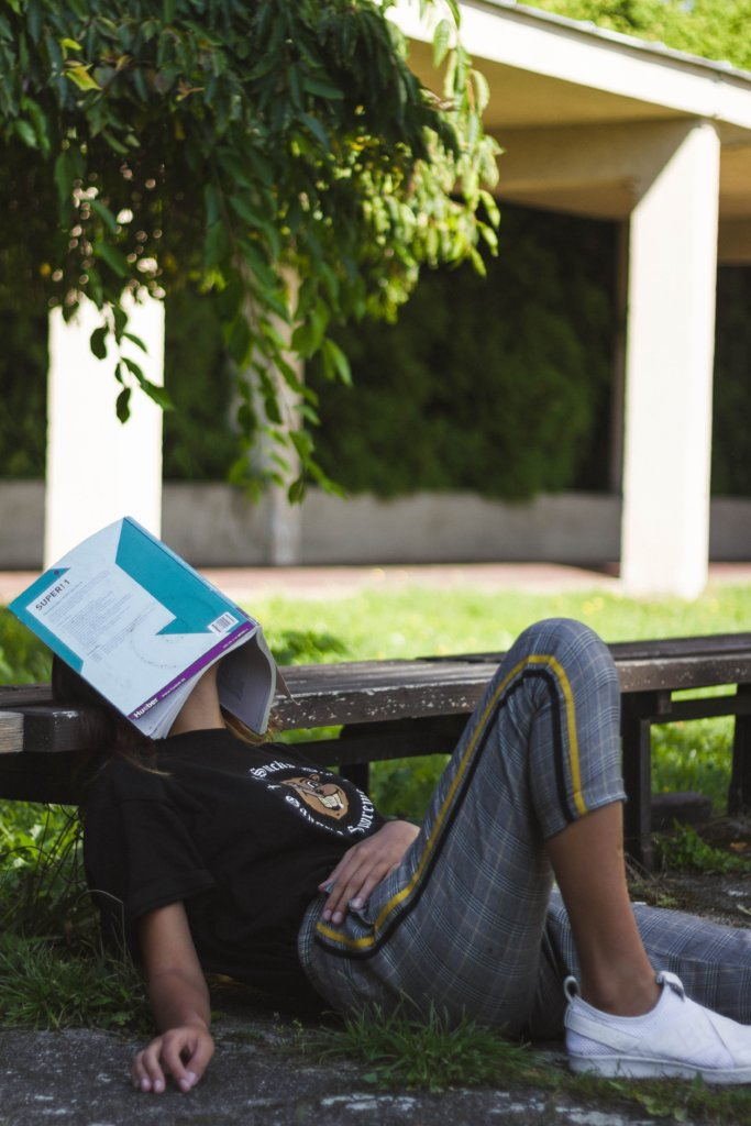 Woman asleep on a bench with a textbook open and covering her face